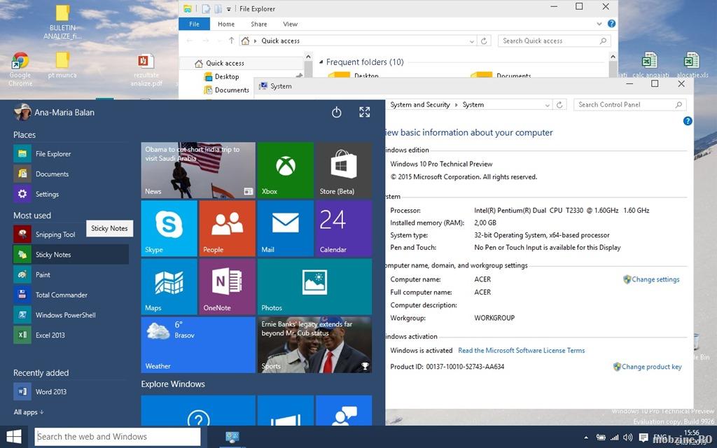 Cum arata si cum functioneaza Windows 10 build 9926 pe un