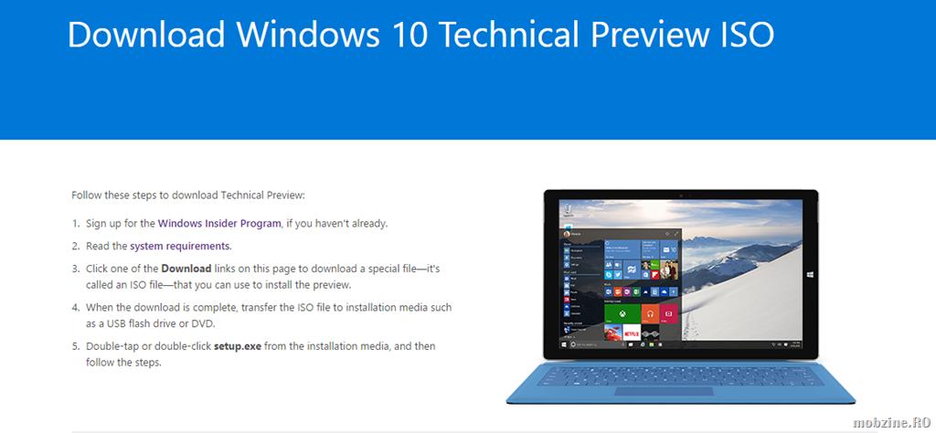 E gata: download Windows 10 Technical Preview ISO build 9926