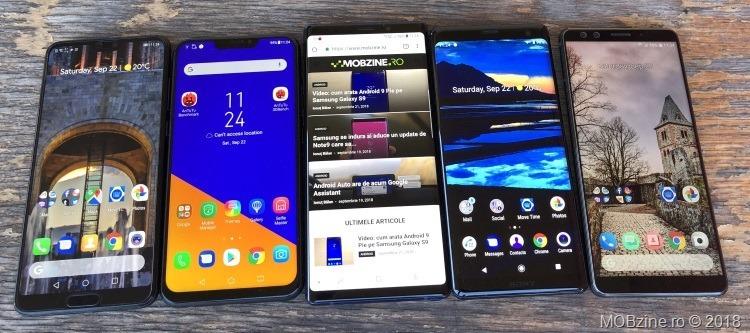 Huawei P20 Pro vs Asus Zenfone 5Z vs Samsung Galaxy Note9 vs Sony Xperia XZ3 vs HTC U12+
