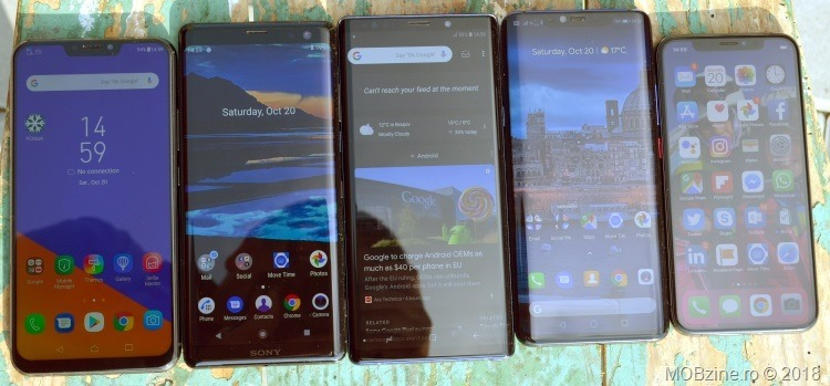 Comparatie display: Asus Zenfone 5z vs Sony Xperia XZ3 vs Samsung Galaxy Note9 vs Huawei Mate 20 Pro vs iPhone Xs