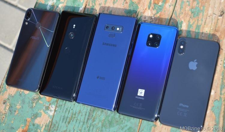 Asus Zenfone 5Z, Sony Xperia XZ3, Samsung Galaxy Note9, Huawei Mate 20 Pro, iPhone Xs