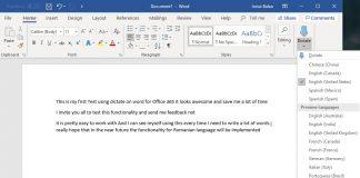 Dictate din Word for Office 365 știe să transcrie automat ceea ce vorbiți.