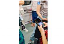 Galaxy Note 10+ în acțiune, filmat în metrou în Coreea.