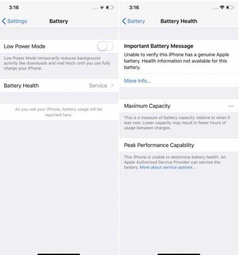 Deși apare un mesaj de avertizare, iPhone-ul funcționează perfect și cu baterii non-Apple.