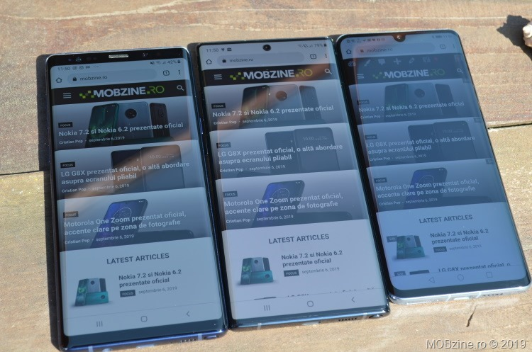 Note 9 vs Note 10+ vs Huawei P30 Pro: display în soare puternic.