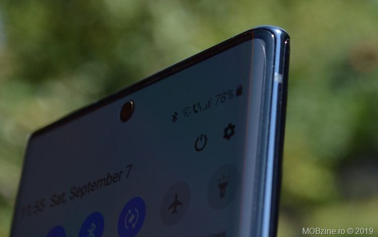Marginea rotunjită a lui Samsung Galaxy Note 10+.