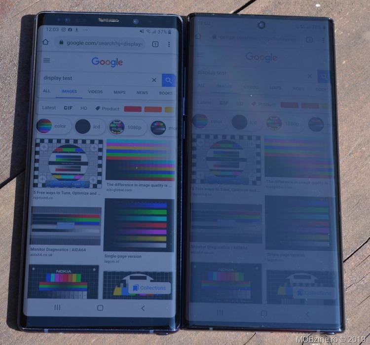 Display: comparație între Note 9 (stânga) și Note 10+ (dreapta).