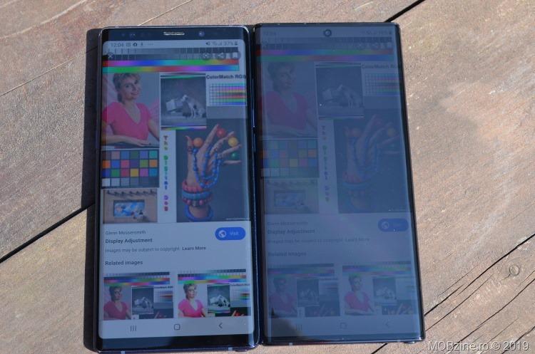 Note 9 vs Note 10+: display în soare puternic.