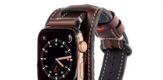 Curea de piele Pad & Quill pentru Apple Watch.