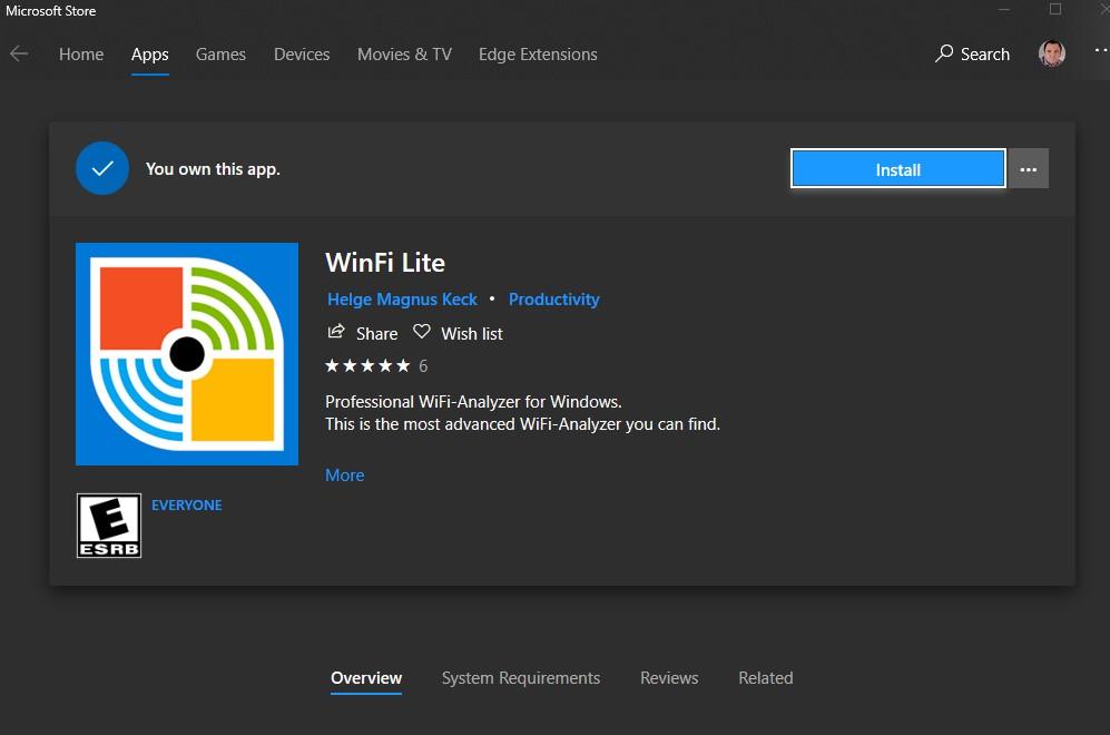 WinFi Lite, un scanner de wifi pentru Windows 10.