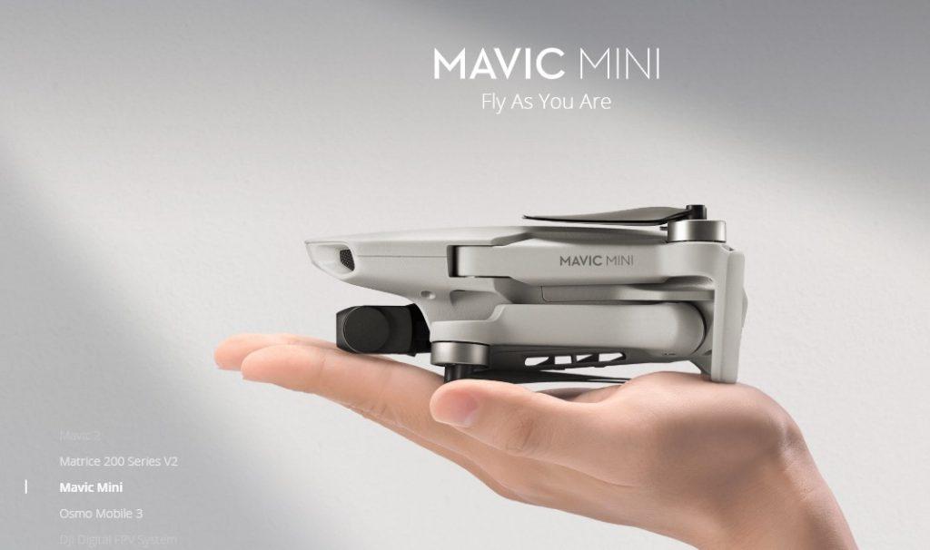 Cea mai nouă dronă DJI Mavic Mini poate zbura până la 30 de minnute și înregistra în format 2.7K.