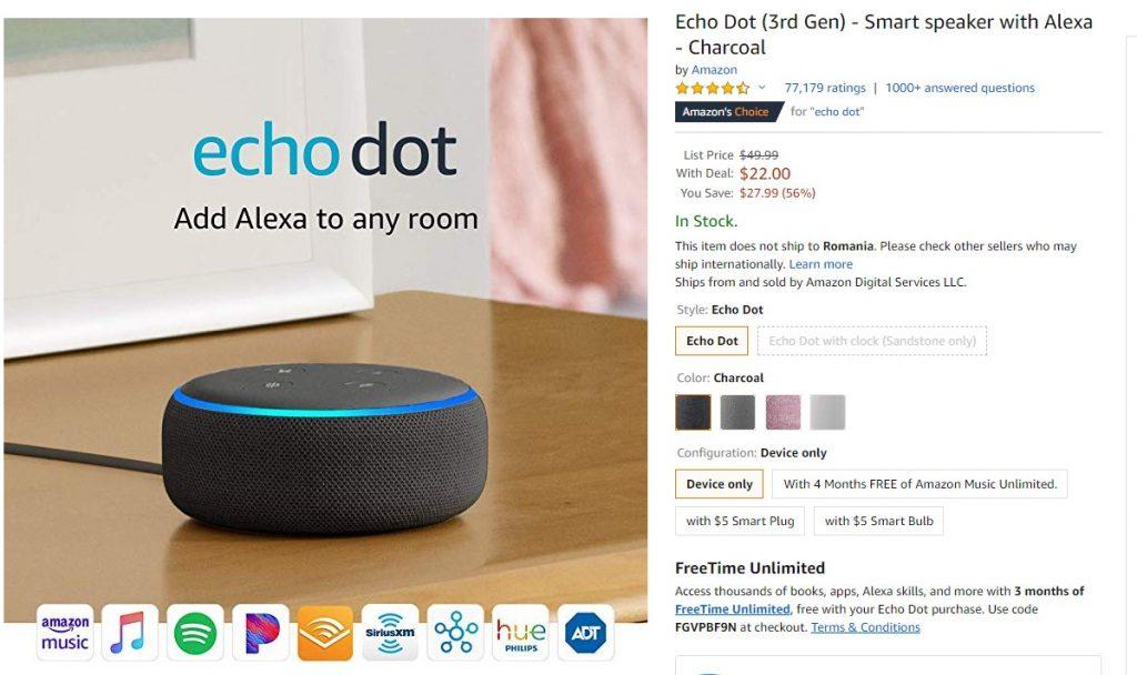 Astăzi, Amazon Echo Dot și Echo Dot Watch au reduceri semnificative în America și Europa