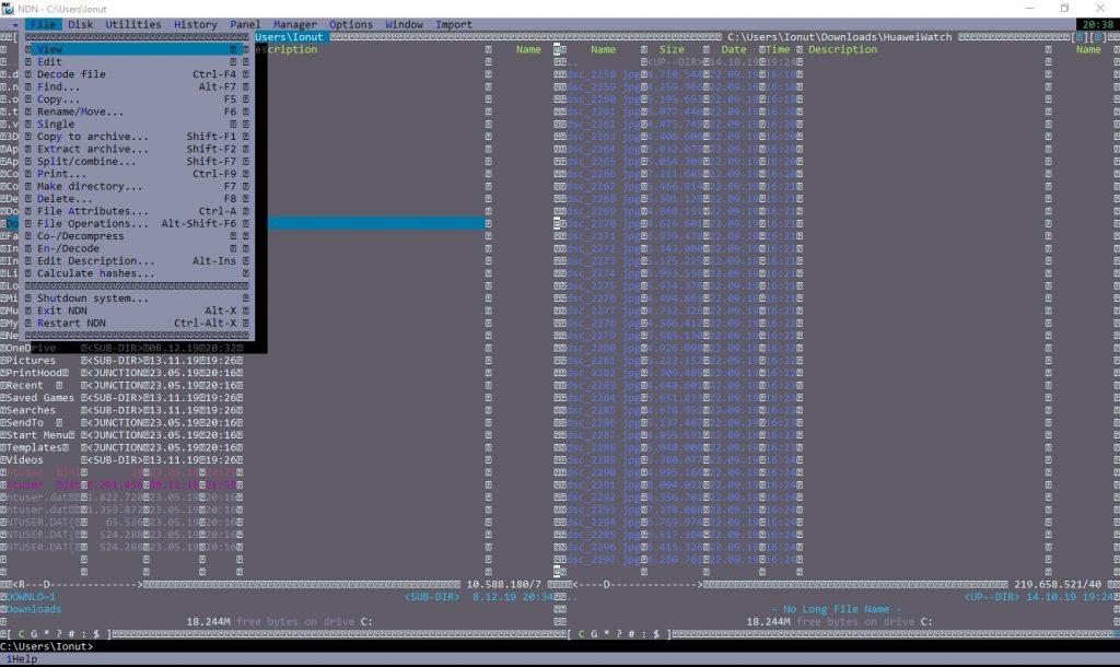 Acesta este Necromancer Dos Navigator, un file manager similar (clonă?) cu Norton Commander.