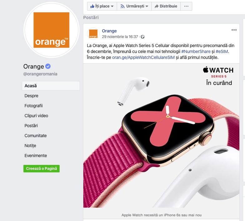 Începând cu 6 decembrie Apple Watch 5 Cellular cu eSIM 4G va putea fi comandat în România, prin Orange.