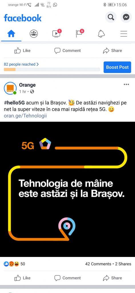 Începând cu 29 ianuarie 2020 Orange a anunțat disponibilitatea tehnologiei 5G și în Brașov.