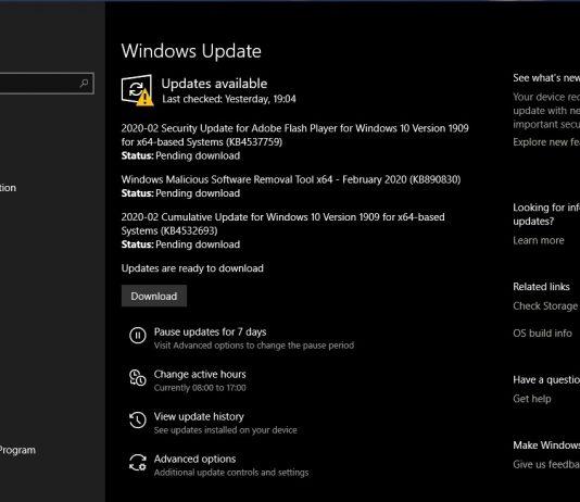 Setul de patch-uri de securitate pentru Windows din februarie 2020 conține nu mai puțin de 99 de remedii!