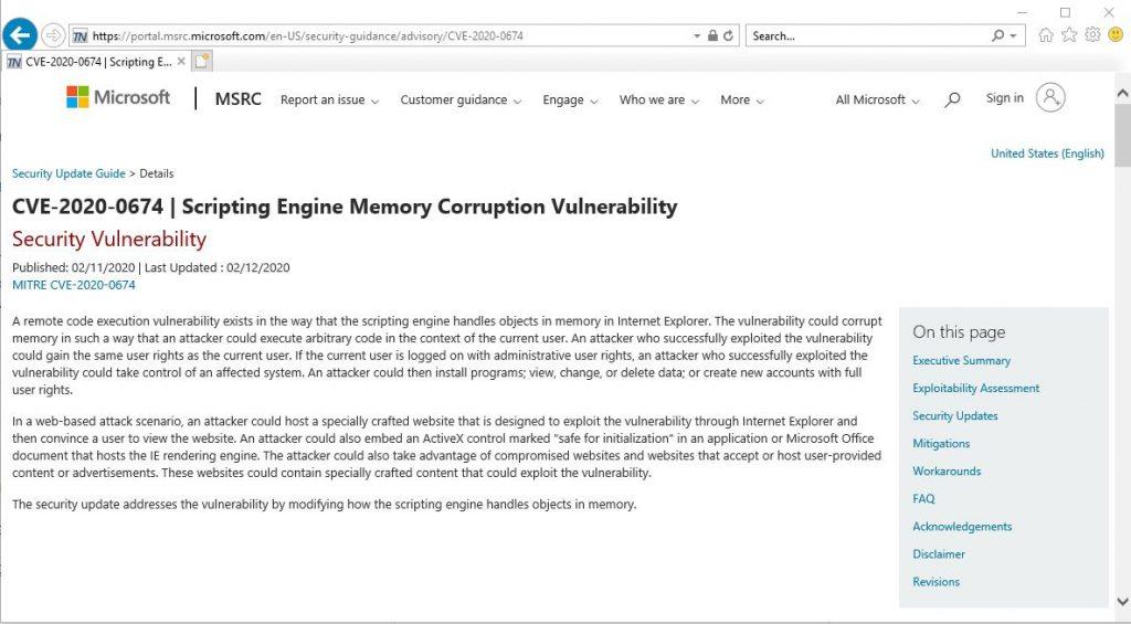 În ciuda anunțului legat de încetarea suportului pentru Windows 7, Microsoft tocmai a oferit încă un patch de IE din cauza unei vulnerabilități care este exploatată activ.
