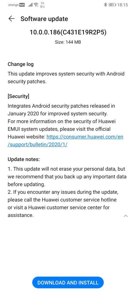 Update-ul cu patch-urile de Android 10 pentru ianuarie 2020 a venit pe Huawei P30 Pro.