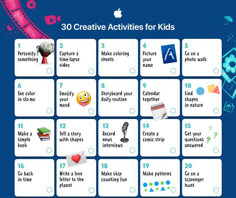 Apple Education ne propune o listă cu 30 de activități creative pentru copiii între 3 și 8 ani, binevenite în perioada de izolare.