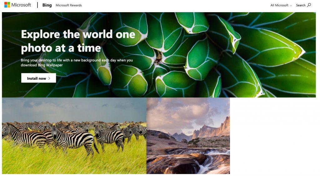 Microsoft a lansat o aplicație Bing Wallpaper de Windows 10 care permite schimbarea zilnică a fundalului Windows cu imaginea publicată pe Bing.com.