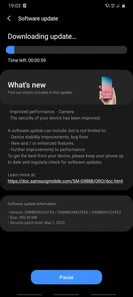 """Update-ul G988VXXU2ATE6/G988BOXM2ATE6/G988BXXU2ATE3 aduce patch-urile de securitate Android pentru luna mai 2020 și un mod special """"close-up zoom"""" pentru camera foto."""