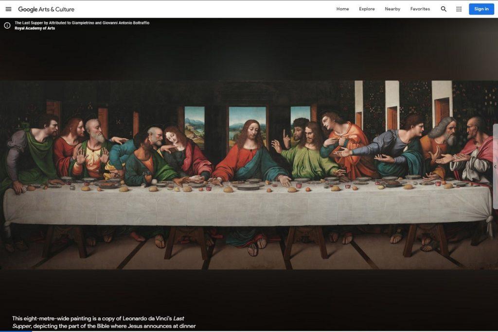 """Reproducerea digitală a frescei """"Cina cea de taină"""" făcută de Leonardo da Vinci este disponibilă online, gratuit, prin Google Arts & Culture."""