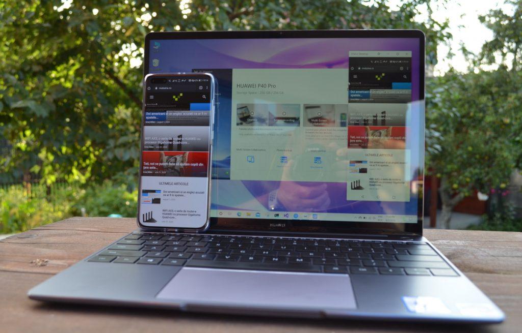 Așa funcționează Huawei Multi-screen Collaboration între smartphone-ul Huawei P40 Pro și laptop-ul Huawei Mate D13.