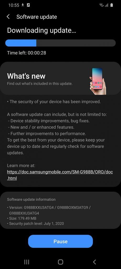 Samsung Galaxy S20 Ultra primeste firmware-ul G988BXU3ATG4/G988BOXM3ATG9/G988BXXU3ATG4 cu remediile de Android 10 pentru luna iulie.