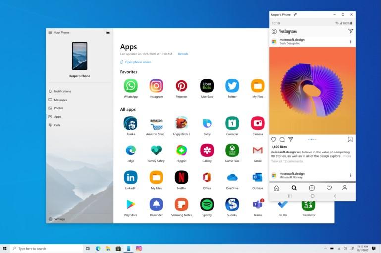 În Windows 10 Insider Preview Build 20185 lansat aseară de Microsoft veți regăsi posibilitatea de a rula aplicații Android direct pe desktop, via Your Phone.