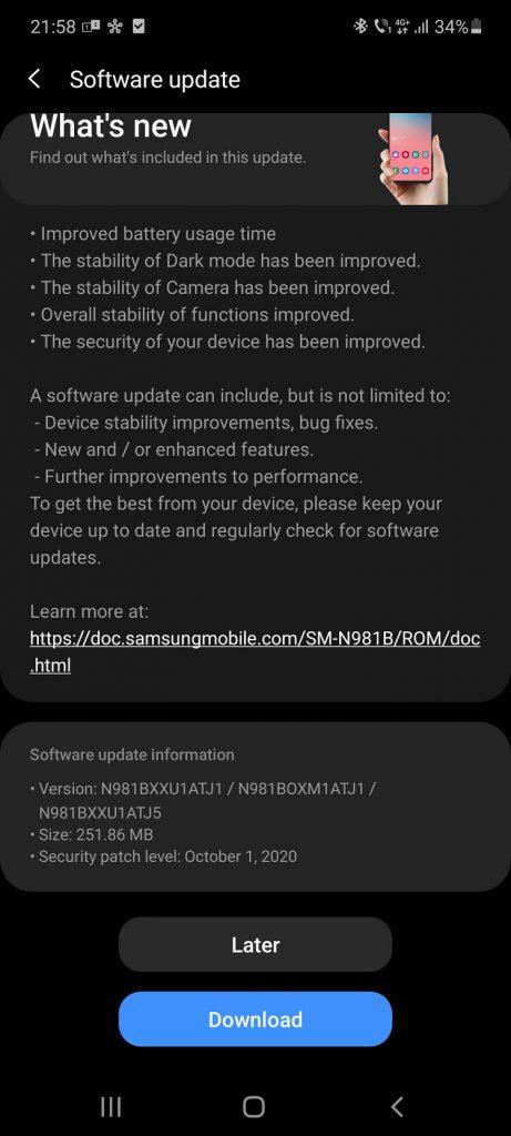 Seria Samsung Galaxy Note20 5G tocmai a primit setul de patch-uri Android pentru luna octombrie.