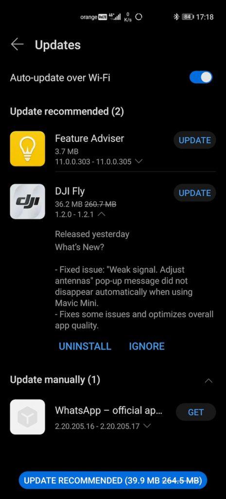 Versiunea 1.2.1 pentru aplicația DJI Fly de Android e disponibilă în Huawei AppGallery.