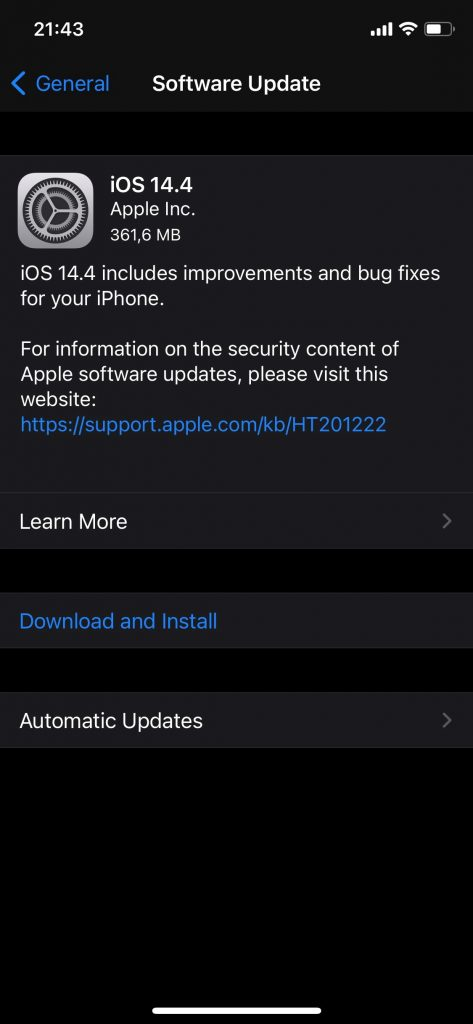 iOS 14.4 vine să repare trei vulnerabilități critice 0day, deja folosite pentru accesul neautorizat la aparatele iPhone/iPad.