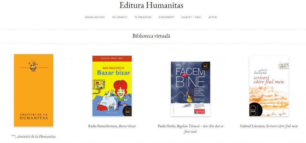Editura Humanitas oferă mai multe cărți gratuite (în format PDF) în cadrul colecției Biblioteca virtuală.