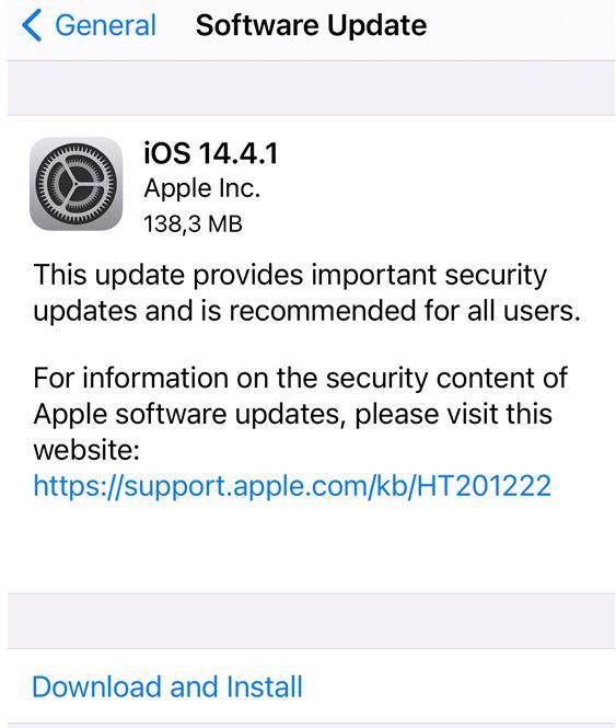 iOS 14.4.1 repară o problemă majoră în WebKit (motorul din Safari) ce poate duce la compromiterea de la distanță a dispozitivului.