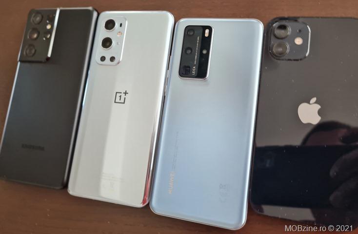 Pentru a vedea care e mai rapid, am testat Galaxy S21 Ultra, OnePlus 9 Pro, P40 Pro și iPhone 12 cu mai multe benchmark-uri relevante.