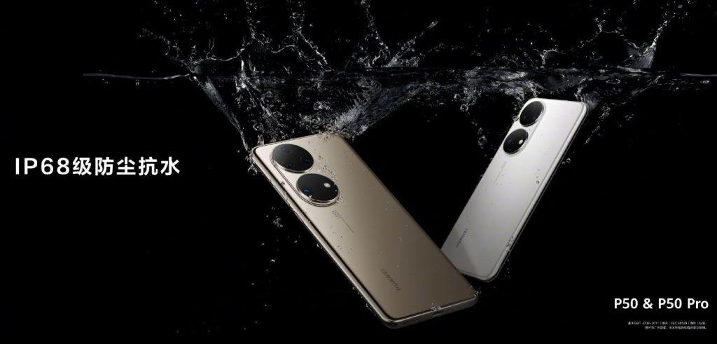 Noile modele Huawei P50 și P50 Pro sunt certificate IP68 pentru rezistență la apă.