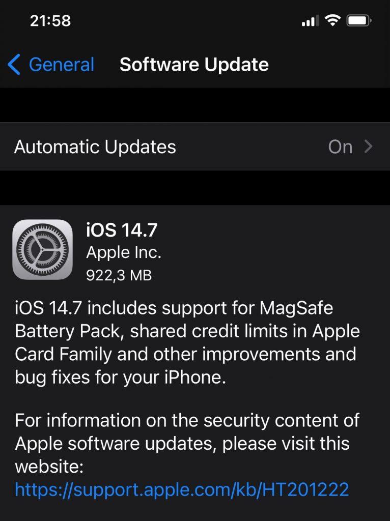 iOS 14.7 e disponibil pentru download, într-un pachet de aproape 1GB.