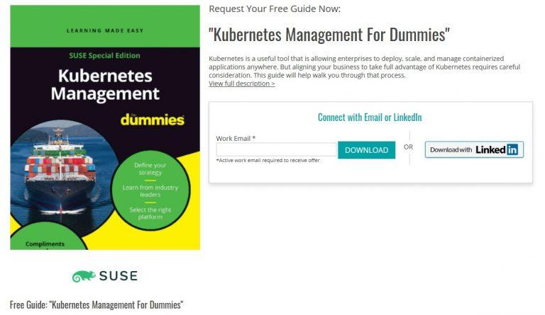 "Recomandare: cartea ""Kubernetes Management for Dummies"" poate fi descarcata gratuit"