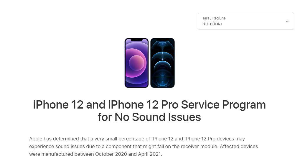 Pentru că există probleme de sunet pe niște modele iPhone 12/12 Pro fabricate între octombrie 2020 și aprilie 2021, Apple a pornit inițiativa No Sound Issues prin care repară problemele ... gratuit.