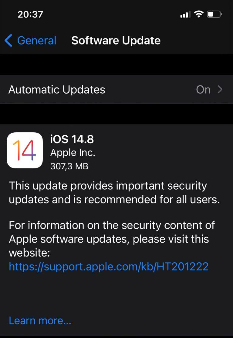 Apple aduce patch-ul de urgenta iOS 14.8 fix inainte de lansarea iOS 15 din seara asta