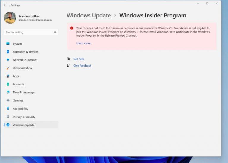 De azi sistemele Insider Preview cu Windows 11 care nu indeplinesc cerintele minime nu mai primesc update-uri