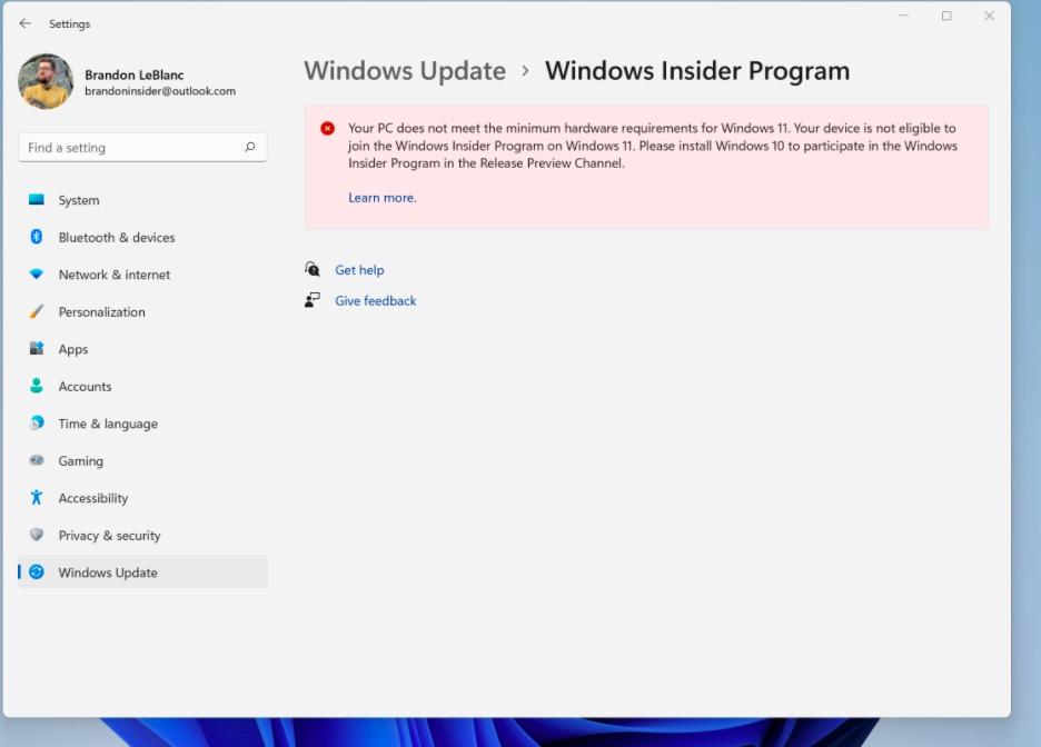 Începând de astăzi, odată cu lansarea Windows 11 Insider Preview build 22449, sistemele Insider Preview cu Windows 11 ce nu îndeplinesc cerințele minime (altele decât TPM 2.0 și CPU) nu mai primesc update-uri, utilizatorii sunt încurajați să renunțe.