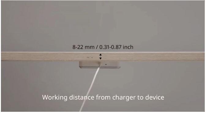 Sjömärke este cel mai nou încărcător wireless Qi al Ikea, poate fi pus sub mobilă de lemn sau plastic.