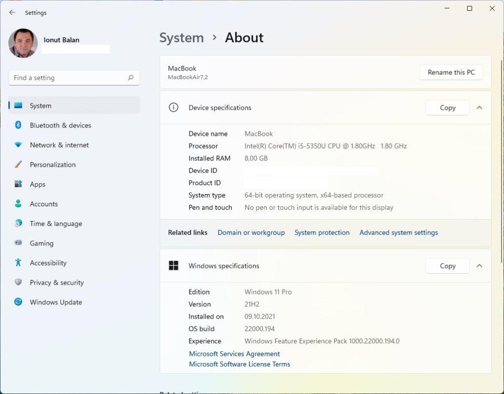 Deși Microsoft nu recomandă, am reușit să pun Windows 11 nativ pe MacBook Air cu BootCamp și merge excelent!